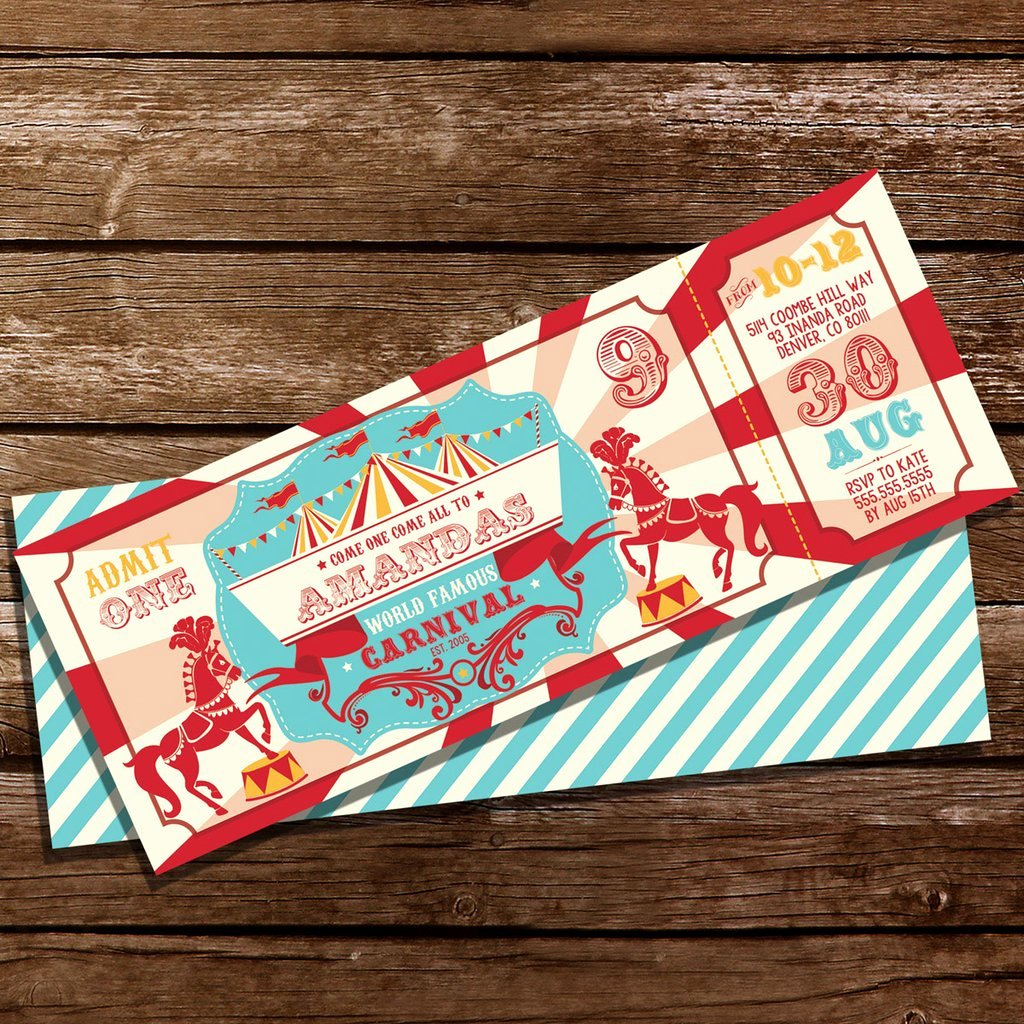 Carnival themed Birthday Invitations New Backyard Carnival Party Ticket Invitation