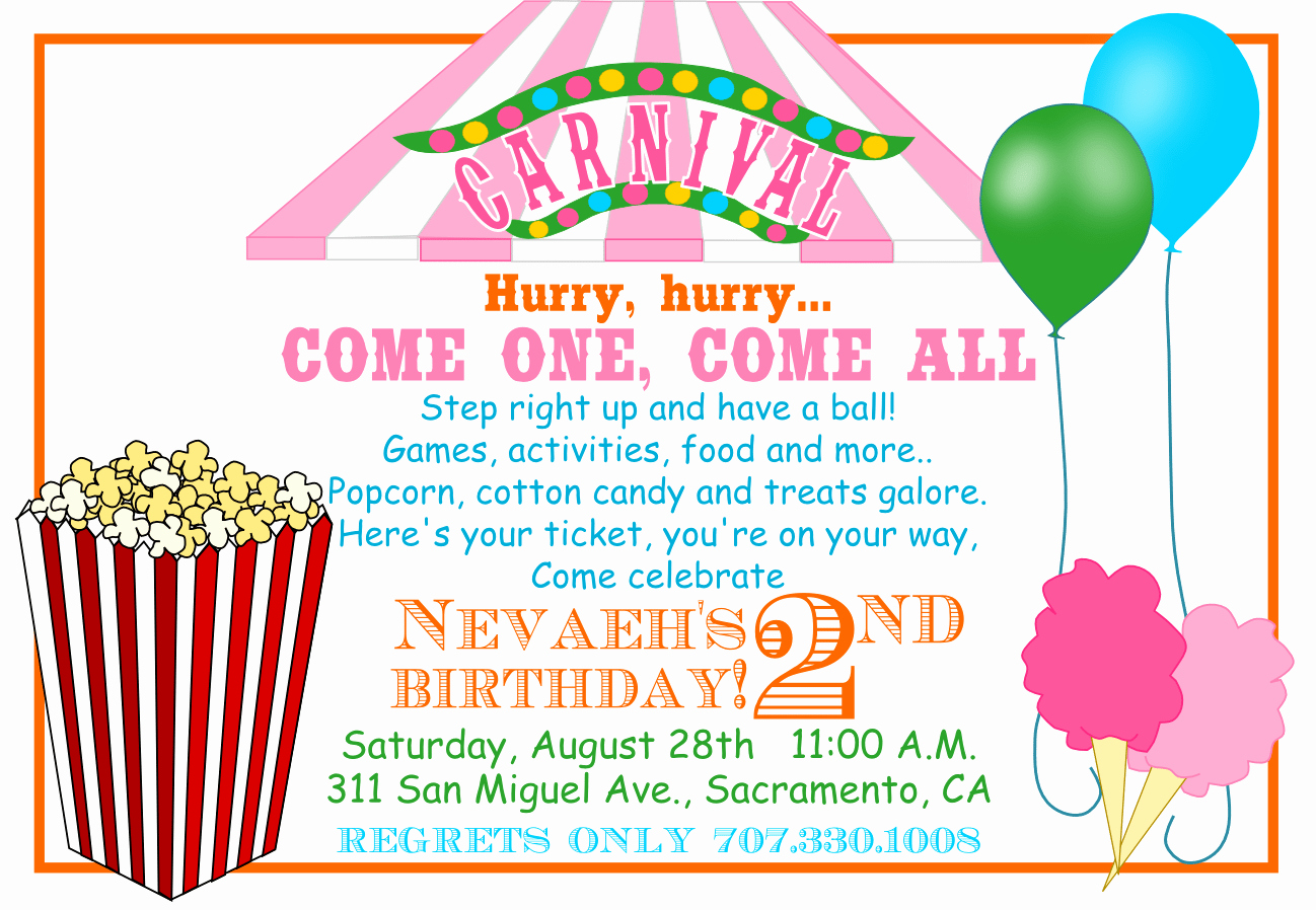 Carnival themed Birthday Invitations New Free Printable Carnival Invitations