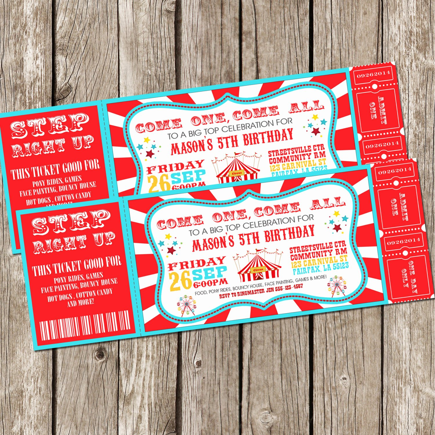 Carnival themed Birthday Invitations Unique Vintage Circus Carnival Invitation Ticket Invitation