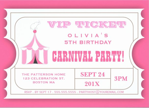 Carnival Ticket Invitation Template Free Awesome 27 Carnival Birthday Invitations Free Psd Vector Eps Ai format Download