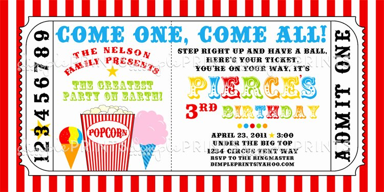Carnival Ticket Invitation Template Free Awesome Carnival Ticket Printable Invite Dimple Prints Shop