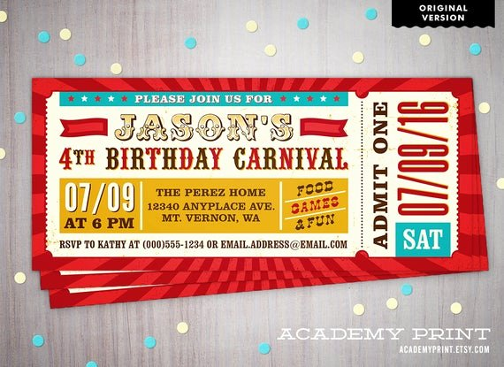 Carnival Ticket Invitation Template Free Elegant Carnival Ticket Invitation Printable Children S Birthday