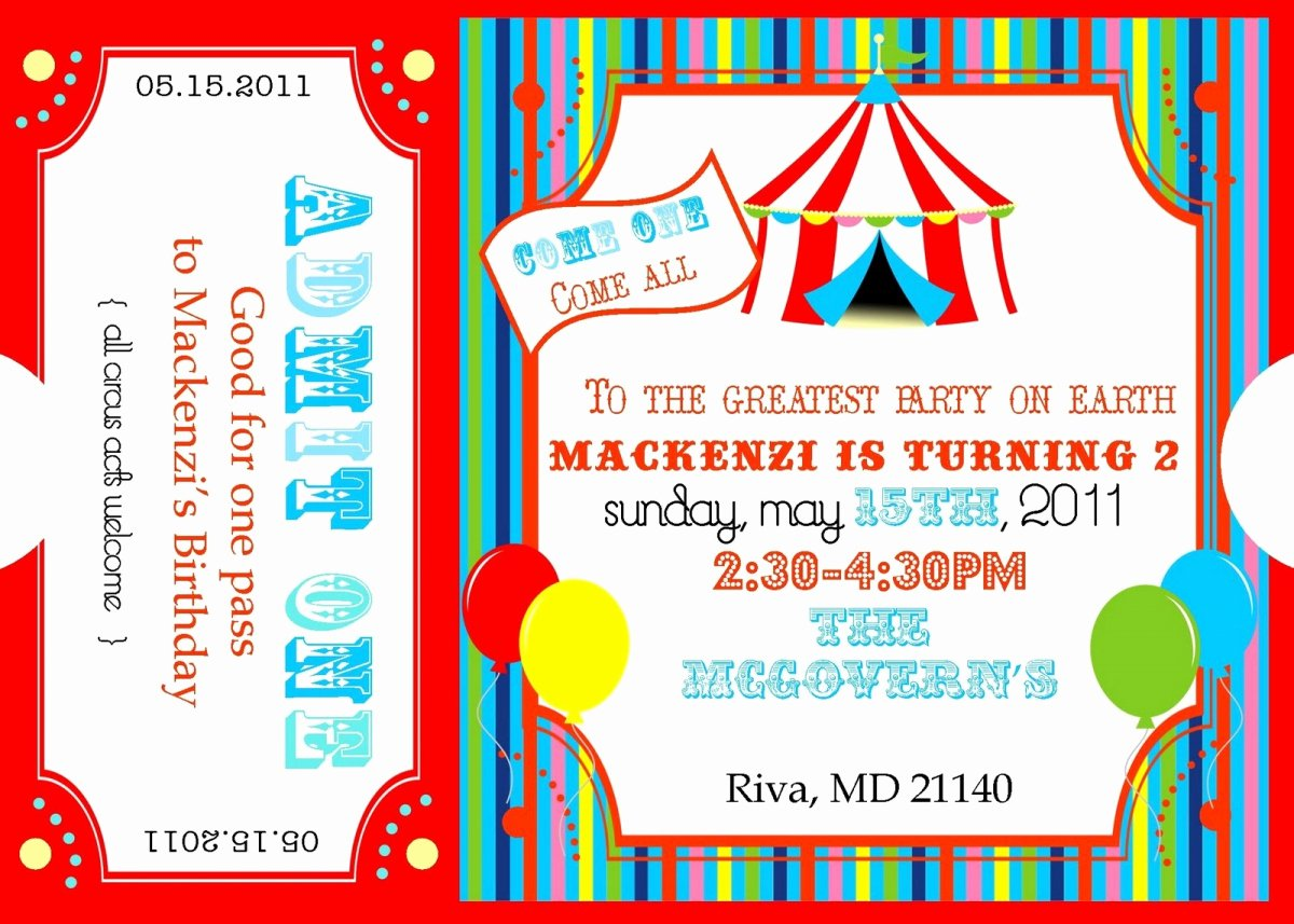 Carnival Ticket Invitation Template Free Fresh Carnival Ticket Invitation Templates
