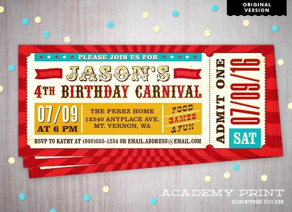 Carnival Ticket Invitation Template Free Luxury 8 Kids Party Invitations Jpg Psd Vector Eps Ai Illustrator
