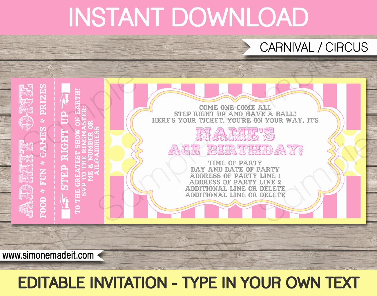 Carnival Ticket Invitation Template Free New Carnival Birthday Ticket Invitations Template Carnival