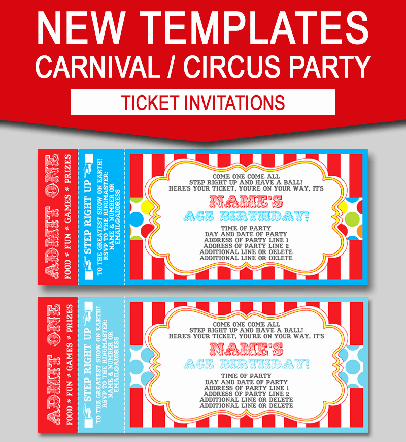 Carnival Ticket Invitation Template Free New Editable Carnival Ticket Invitations