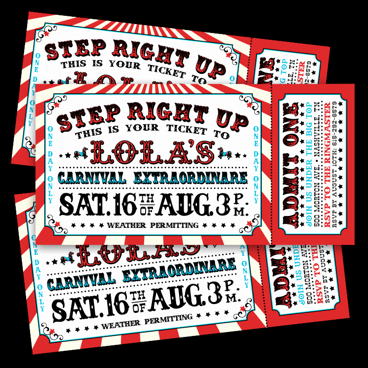Carnival Ticket Invitation Template Free Unique Vintage Carnival Ticket Invitations – Ian & Lola Design Boutique