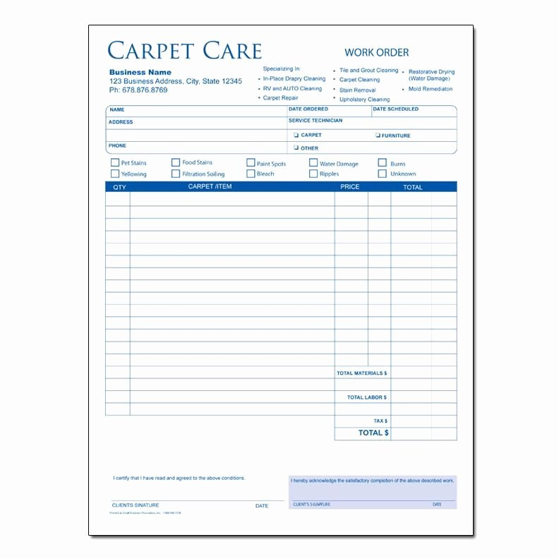 Carpet Cleaning Invoice Template Beautiful Carpet Cleaning Invoice form Carpet Cleaning Service Business Resource