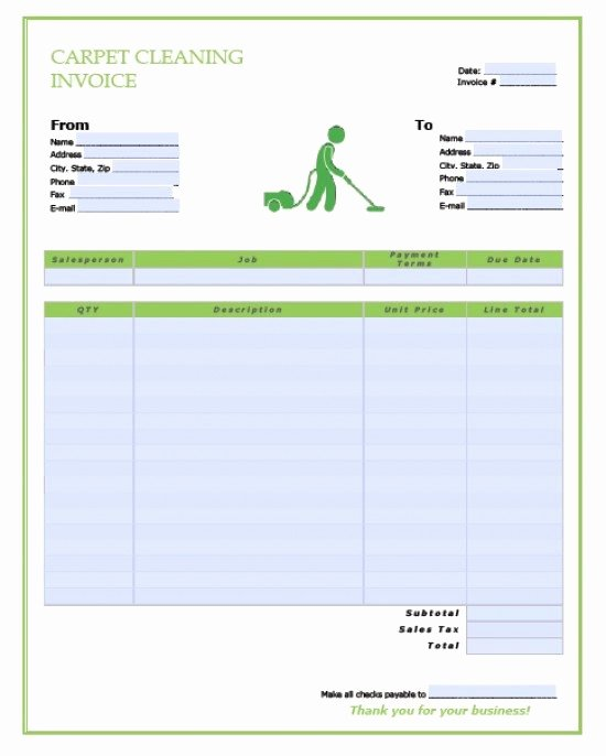 Carpet Cleaning Invoice Template Beautiful Invoice for Carpet Cleaning
