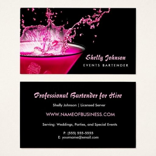 Catering Business Card Ideas Inspirational Edgy Black and Pink Splash events Bartender Business Card Zazzle