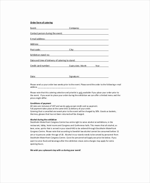 Catering order form Template Elegant Sample Catering order form 11 Examples In Word Pdf