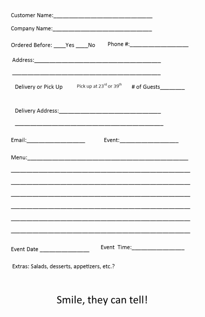 Catering order form Template Fresh Catering order form Template 4 – Independent Restaurant Consultants