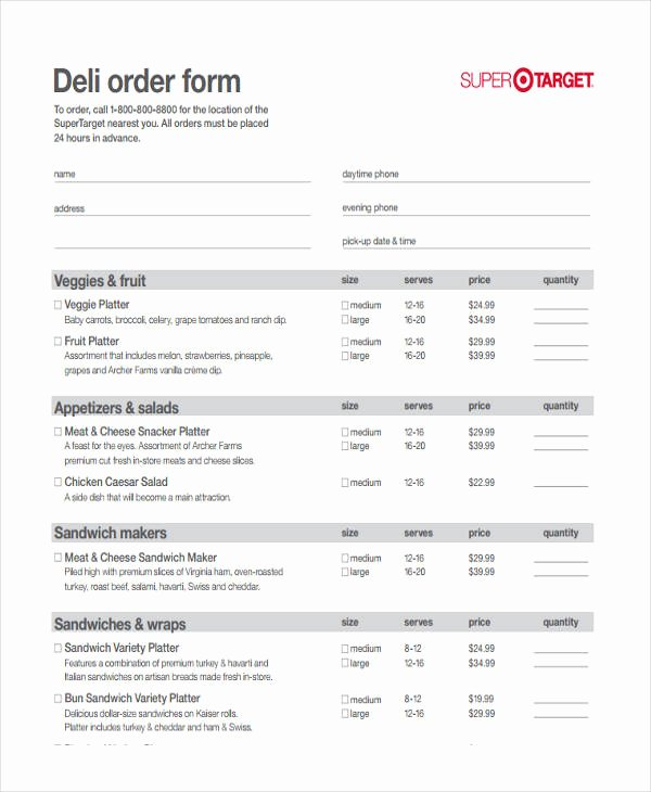 Catering order form Template Inspirational 8 Catering order form Free Sample Example format Download