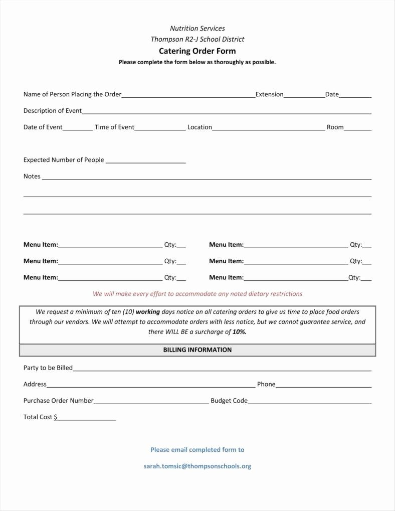 Catering order form Template Luxury 10 Catering order form Templates Ms Word Numbers Pages