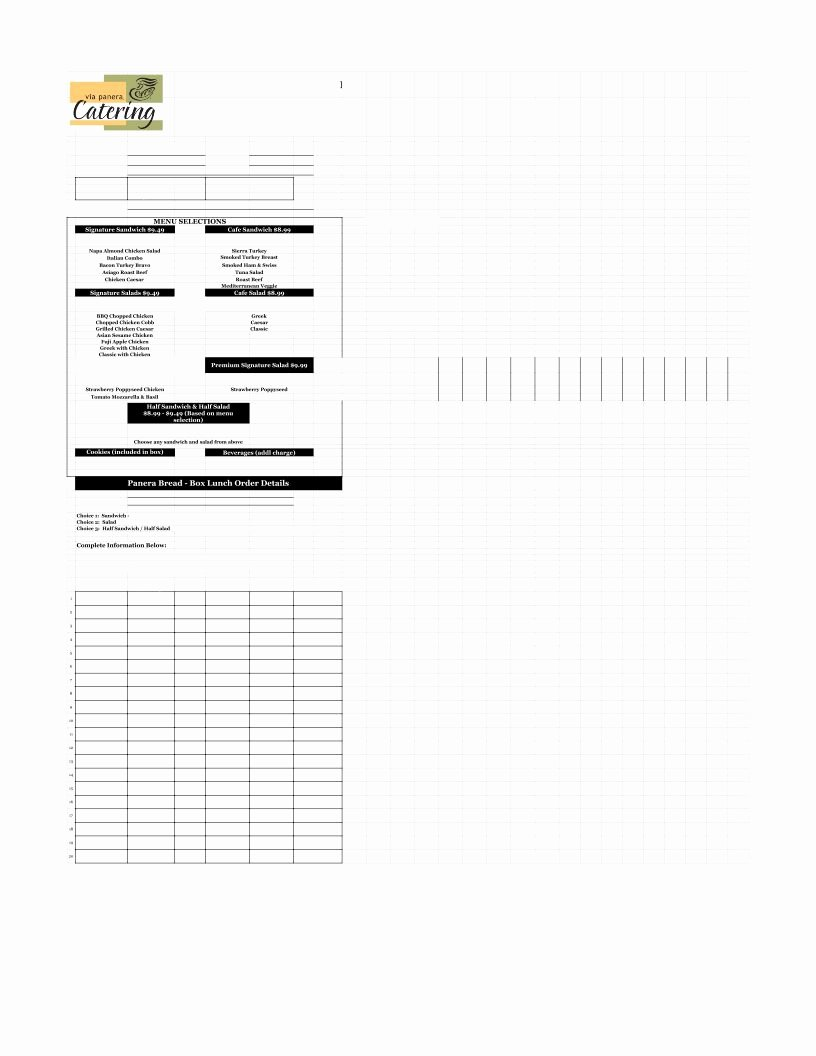 Catering order form Template Luxury Catering order form Template Excel Pdf Google Sheet Excel format