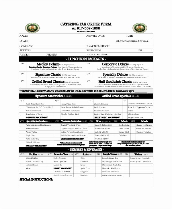 Catering order form Template New Sample Catering order form 11 Examples In Word Pdf