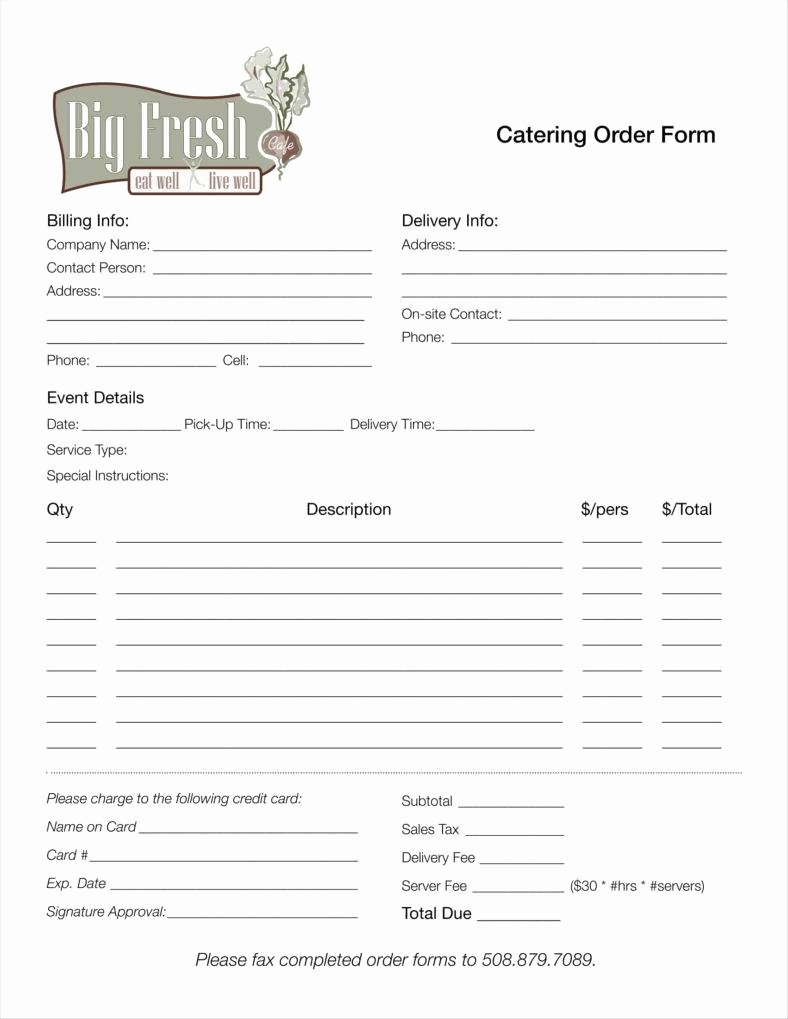 Catering order form Template Unique 10 Catering order form Templates Ms Word Numbers Pages