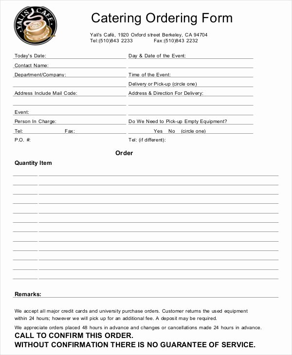 Catering order form Template Unique 16 Catering order forms Ms Word Numbers Pages