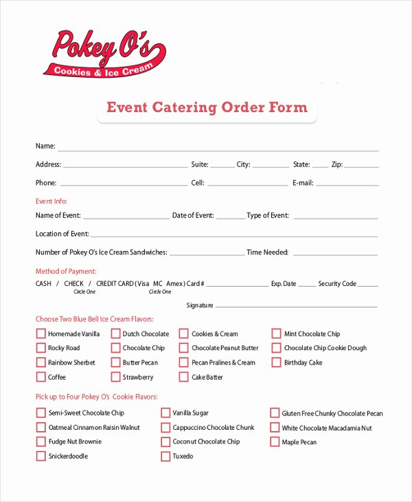 Catering order form Template Word Beautiful Catering order form – Emmamcintyrephotography