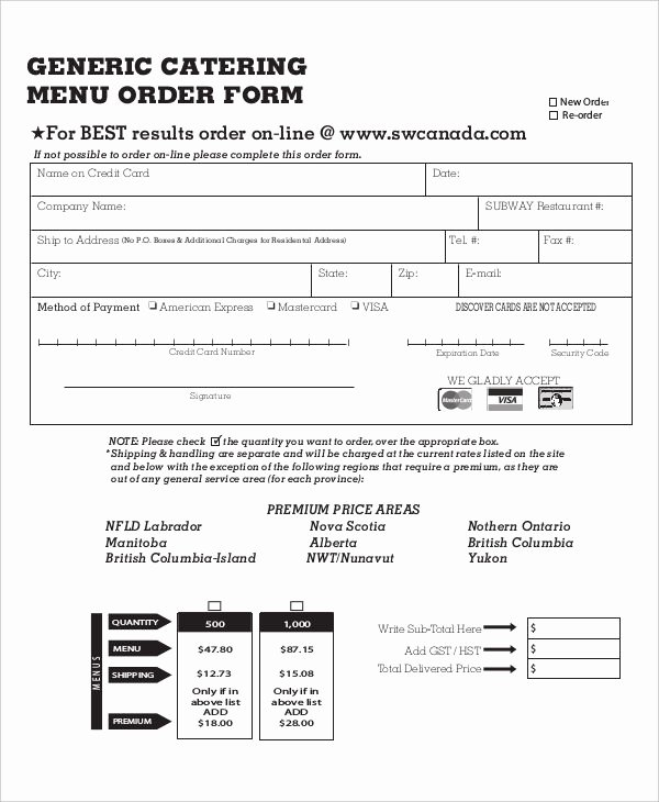 Catering order form Template Word Luxury 16 Catering order forms Ms Word Numbers Pages