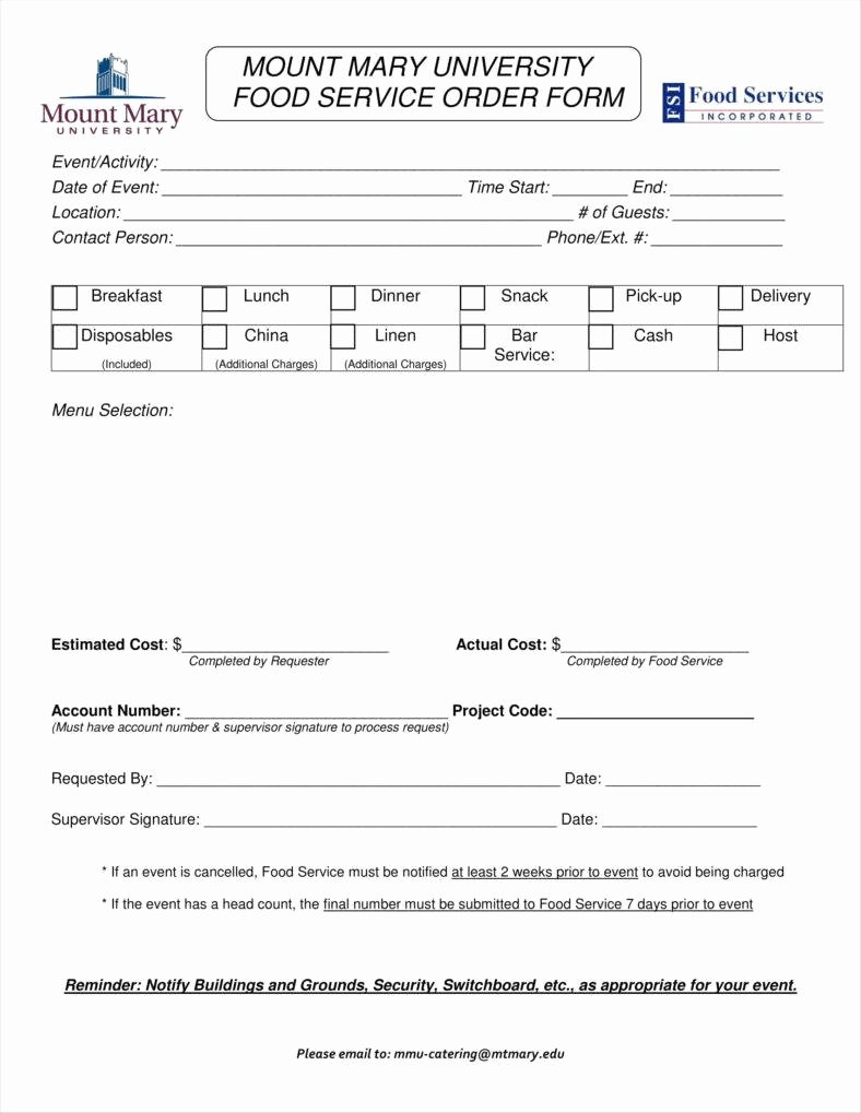 catering order form templates