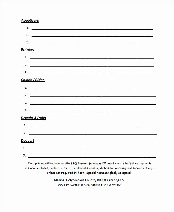 Catering order forms Template Beautiful Sample Catering Quote 8 Documents In Pdf Word