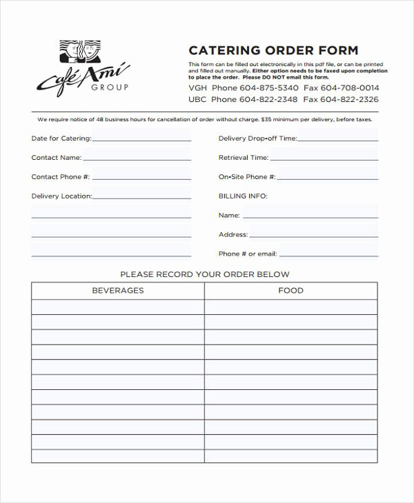 Catering order forms Template Best Of Free 9 Catering order form In Sample Example format