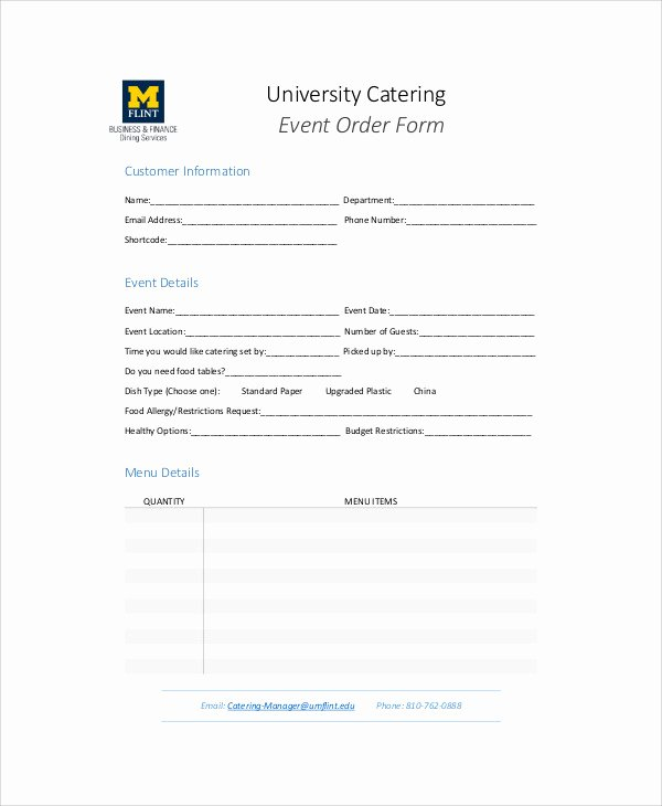 Catering order forms Template Best Of Sample Catering order form 11 Examples In Word Pdf