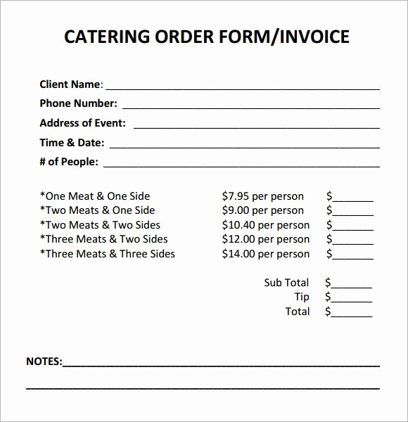 Catering order forms Template Elegant Free 17 Catering Invoice Samples In Google Docs Google Sheets Ms Excel Ms Word