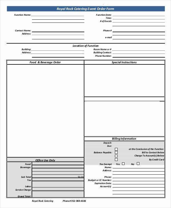Catering order forms Template Lovely 16 Catering order forms Ms Word Numbers Pages