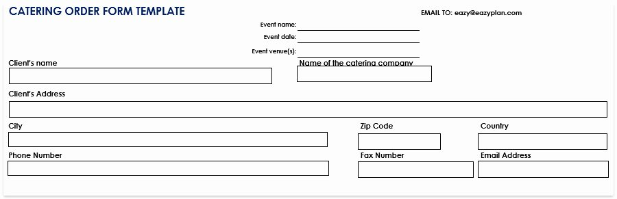 Catering order forms Template Lovely Catering order form Template Free Word Pdf now