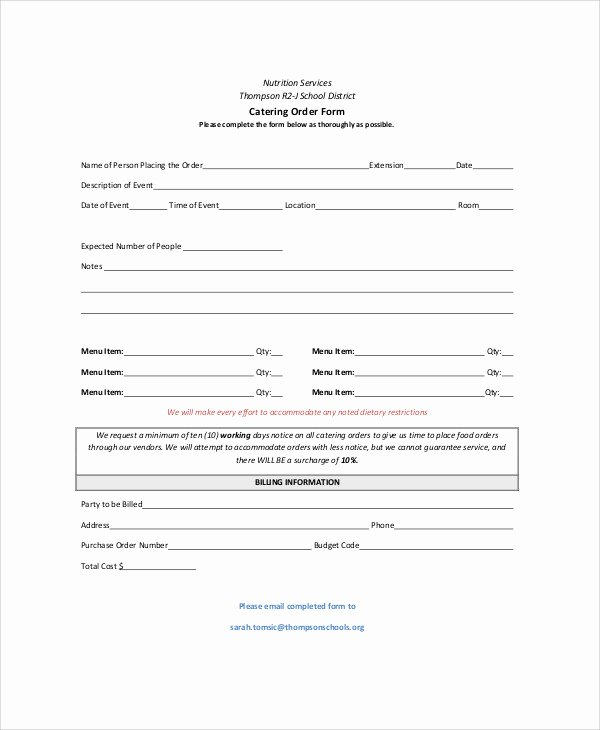 Catering order forms Template New Sample Catering order form 11 Examples In Word Pdf
