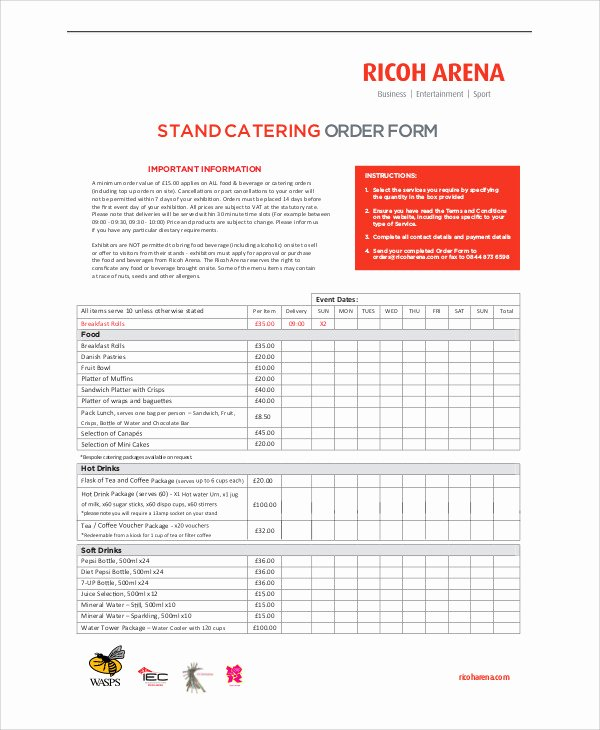 Catering order forms Template Unique Sample Catering order form 11 Examples In Word Pdf