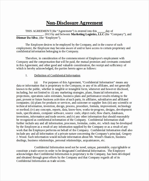 Celebrity Non Disclosure Agreement Fresh Non Disclosure Agreement Template 16 Free Word Pdf Document Downloads