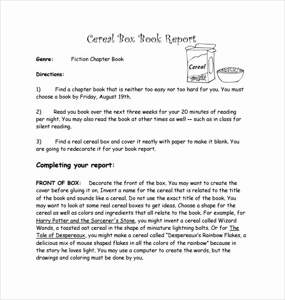 Cereal Box Book Report Samples Best Of Cereal Box Book Report – 11 Free Samples Examples & formats