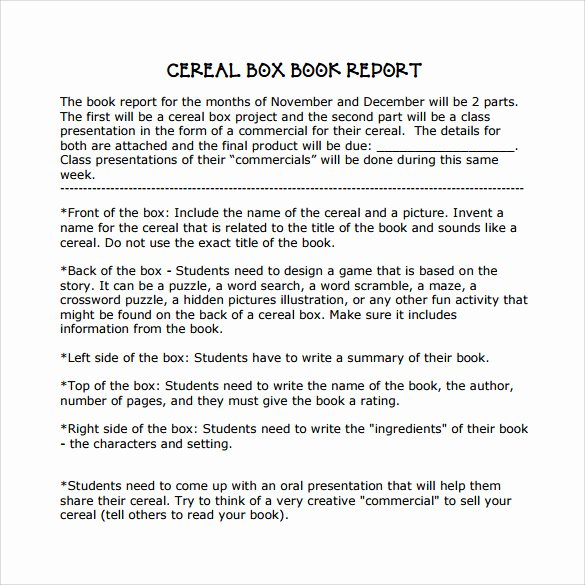 Cereal Box Book Report Samples Elegant Cereal Box Book Report – 11 Free Samples Examples & formats