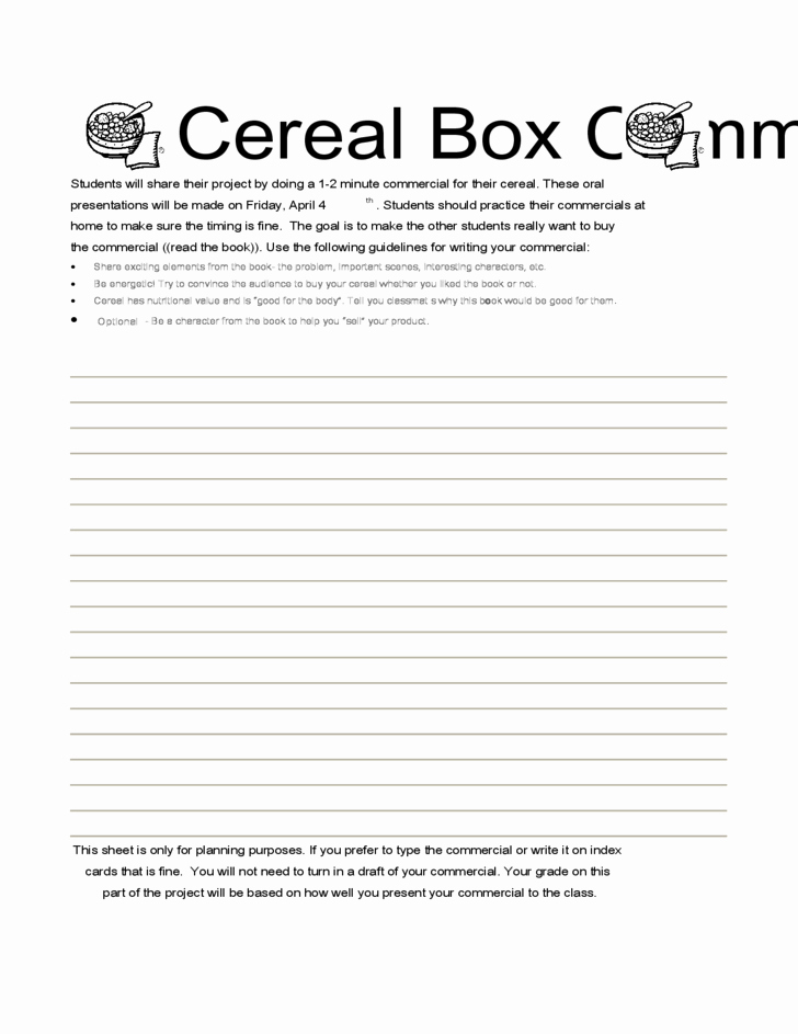 Cereal Box Book Report Samples Unique Cereal Box Book Report Jones Elementary School Free Download