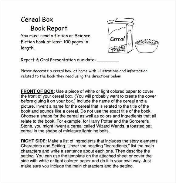 Cereal Box Book Report Template Unique Sample Cereal Box Book Report 8 Documents In Pdf Word