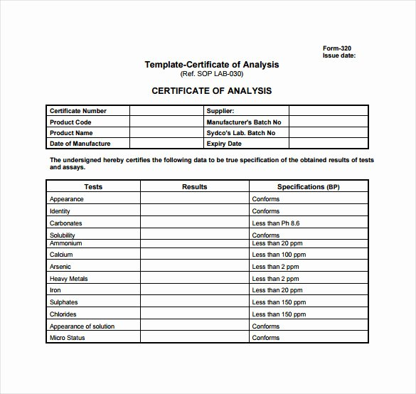Certificate Of Analysis Template Awesome Examples Certificates Authenticity