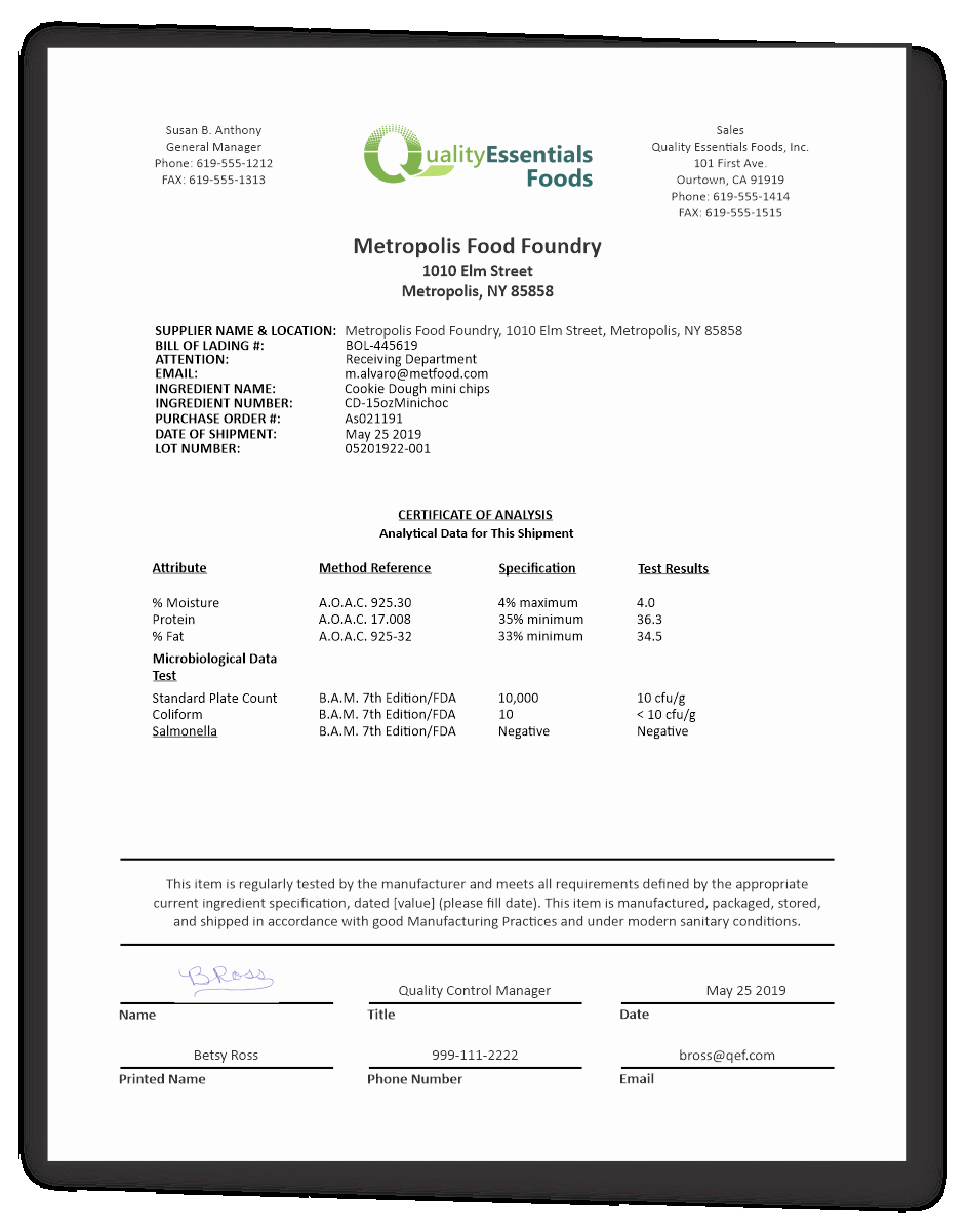 Certificate Of Analysis Template Beautiful Certificates Of Analysis for Food Quality Essentials Suite