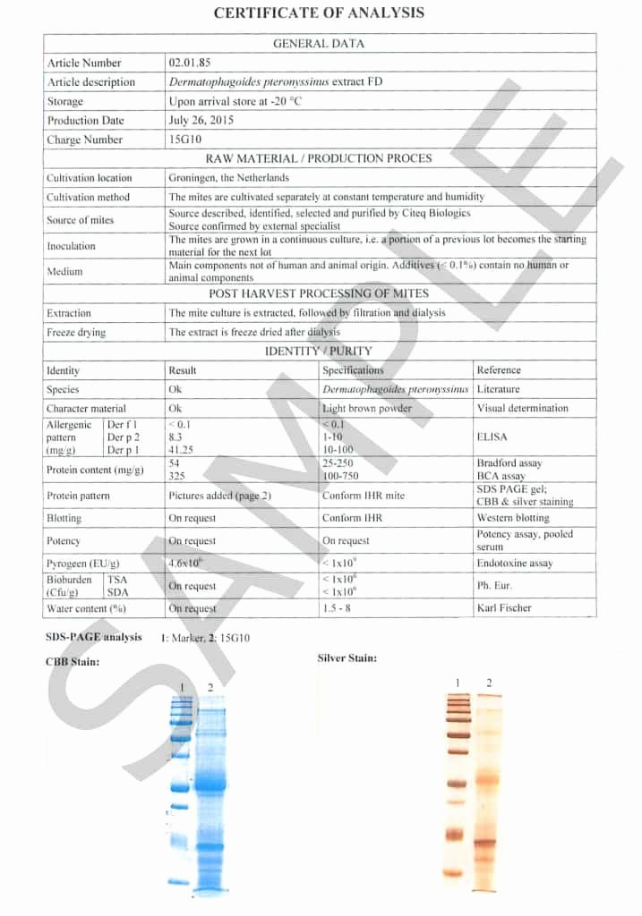 Certificate Of Analysis Template Elegant Certificate Of Analysis D Pteronyssinus Hdm Sample Citeq Biologics