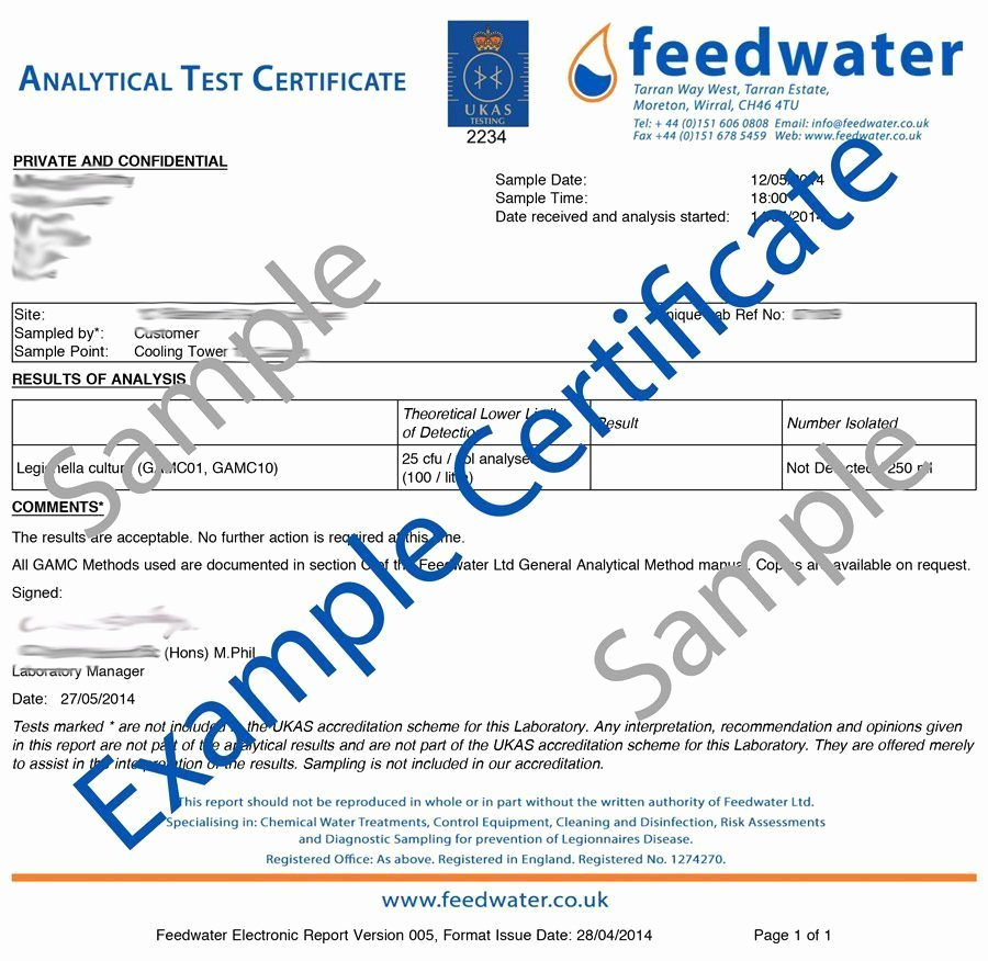 Certificate Of Analysis Template Elegant Swimming Pool & Spa Pool Water Testing Ukas Lab Analysis