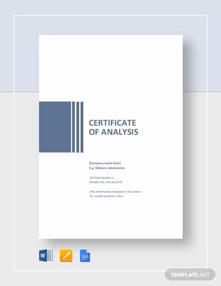 Certificate Of Analysis Template New Free 11 Sample Certificate Of Analysis Templates In Google Docs Ms Word Pages