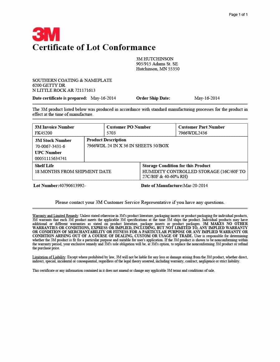 Certificate Of Analysis Template Unique 40 Free Certificate Of Conformance Templates & forms Template Lab
