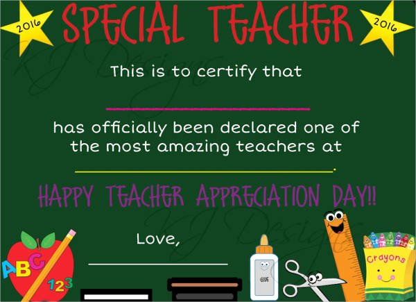 Certificate Of Appreciation for Teachers Awesome Free 16 Examples Of Certificate Of Appreciation In Publisher Word Shop