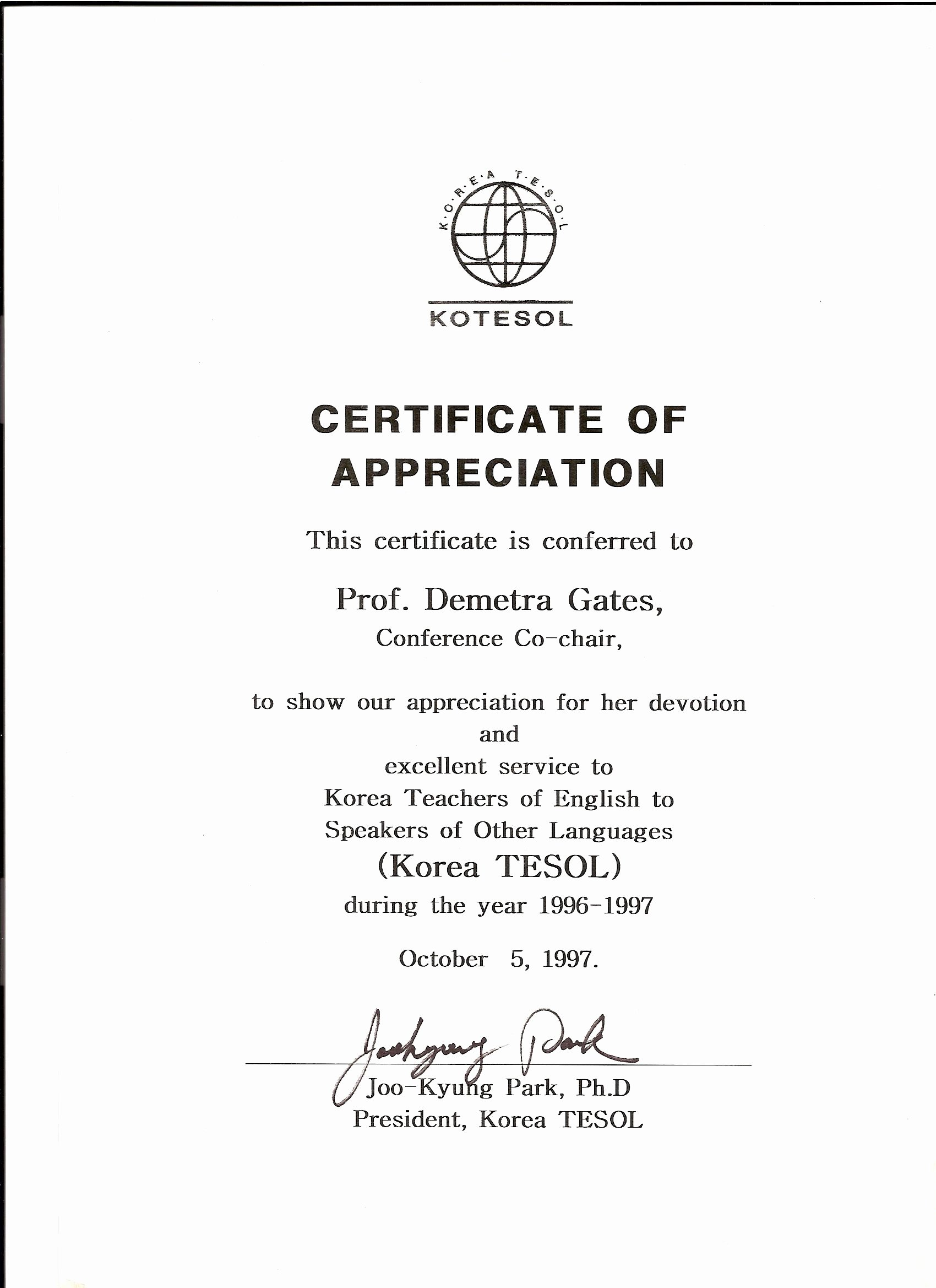 Certificate Of Appreciation for Teachers Awesome Kotesol Presidential Certificate Of Appreciation 1997 Conference Co Chair