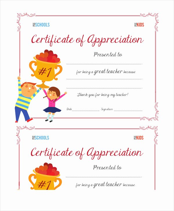 certificate of appreciations