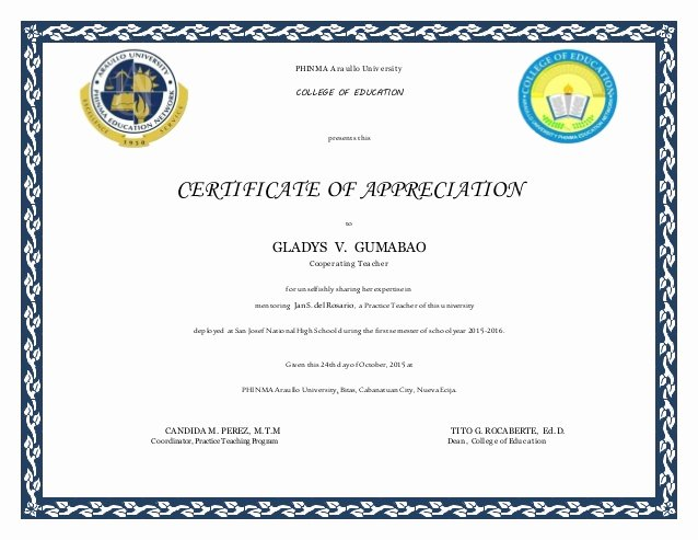 Certificate Of Appreciation for Teachers Fresh Certificate for Cooperating Teachers