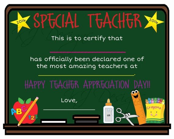 Certificate Of Appreciation for Teachers Inspirational Teacher Appreciation Certificate Print Teacher T Teacher