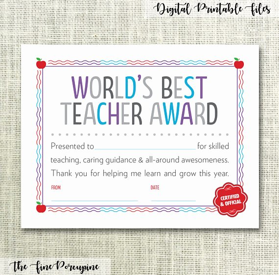 Certificate Of Appreciation for Teachers Inspirational Teacher Certificate Teacher Appreciation Gift for Teacher